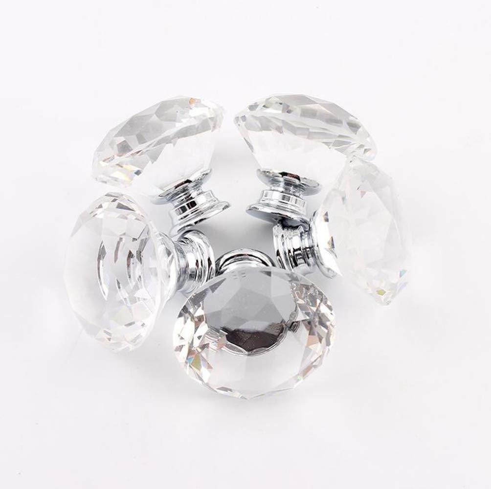 Eshowy alta calidad 4/x diamante cristal transparente tornillo decoraci/ón del hogar 40/mm tiradores para armario de cocina caj/ón perillas