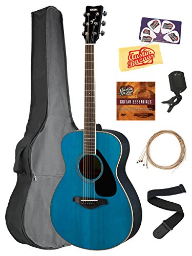 Yamaha FS820 Solid Top Small Body Acoustic Guitar – Turquoise Bundle with Gig Bag, Tuner, Strings, Strap, Picks, Austin Bazaar Instructional DVD, and Polishing Cloth