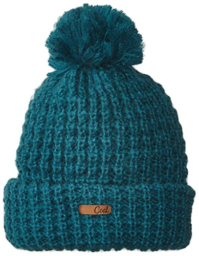 Coal Women's The Kate Waffle-Knit Beanie with Oversized Pom, Evergreen, One Size