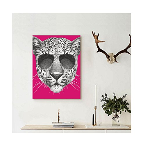 Liguo88 Custom canvas Modern Hipster Leopard with Aviators Sunglasses Portrait Cool Wild Animal Illustration Wall Hanging for Magenta - Tumblr Aviators