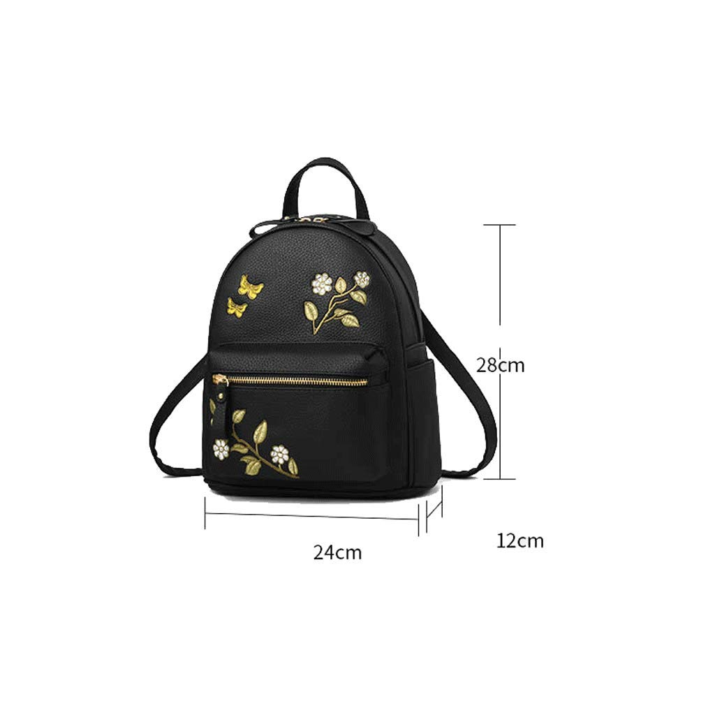 Backpack LCSHAN Shoulders Unisex Leather Fashion Large Capacity Office Travel Color : Black