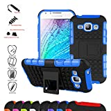 Samsung J1 2015 Case,Mama Mouth Shockproof Heavy Duty Combo Hybrid Rugged Dual Layer Grip Cover with Kickstand For Samsung Galaxy J1 J100 J100H 2015 (With 4 in 1 Free Gift Packaged),Blue