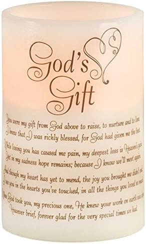 God s Gift Vanilla with Black Script 4 x 6 Resin Stone LED Flameless Candle