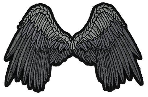Beautiful Silver Angel Wings Large Embroidered Back Patch 5 inch IVANPL3201a