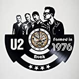 Toffy Workshop U2 - Vinyl Record Wall Clock - Exciting guest room decor idea for adults, men and women - Rock Music Modern Art Design