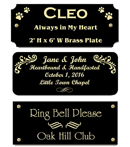 2' H x 5' W, Black Color Solid Brass Satin Name Plates, Personalized Custom Laser Engraved Nameplate Label Art Tag for Frames Notched Square or Round Corners, Made to Order, Made in USA