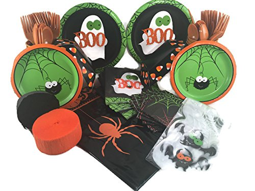 Frightful Fun Halloween Party Supply Bundle for 16 Guests - Plates, Napkins, Cups, Utensils, Tablecover, Snack Servers, Treat Bags, (Halloween Party Snack Ideas Adults)