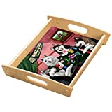 Home of Siberian Huskies 4 Dogs Playing Poker Wood Serving Tray