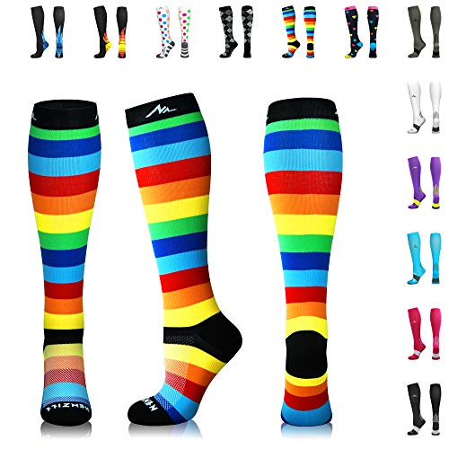 NEWZILL Compression Socks (20-30mmHg) for Men & Women - Best Stockings for Running, Medical, Athletic, Edema, Diabetic, Varicose Veins, Travel, Pregnancy, Shin Splints. (Rainbow Stripes, Large) -