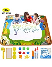 Yetech Agua Dibujo Pintura, 100*70CM Alfombra de Agua Doodle, 8 Plantillas de EVA, 4 moldes, 3 bolígrafos mágicos, 1 Libro de Dibujo, Regalo Ideal para niños