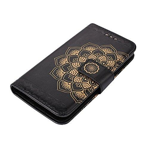 Funda para Huawei P8Lite(2017), Huawei P8Lite(2017) Carcasa Cuero, CLTPY [2 en 1, Separable] Cubierta de Billetera Estilo Libro con Diseño de Mandala 3D para Huawei P8Lite(2017) + 1 x Lápiz Gratis - O Negro