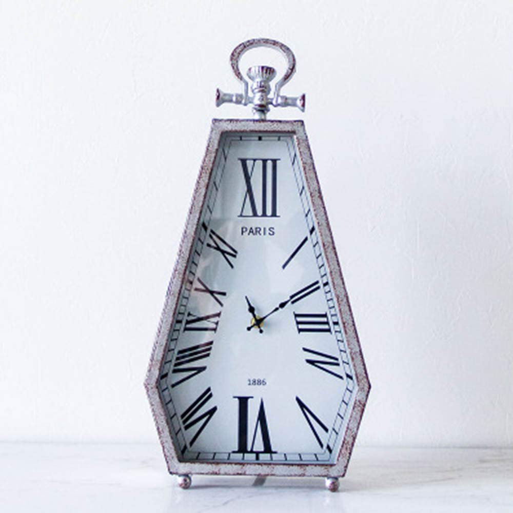 JIANword Clock French Retro Vintage Metal Creative Diamond Modeling Glass Mirror Home Guest Restaurant Porch Wall Clock 50X24.5Cm