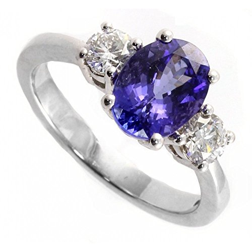 1.25CTW Oval Tanzanite and Diamond 3 Stone Ring in Sterling Silver, size 7