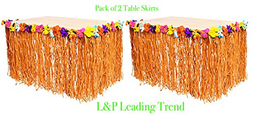 Charmed Natural Color Grass and Hibiscus Flower Table Skirt 9 Feet x 29