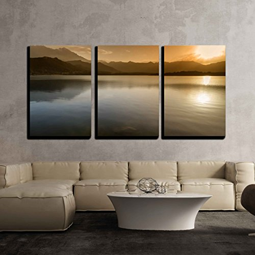 Sunset over Lac De Codole at Reginu in the Balagne Region of Corsica x3 Panels
