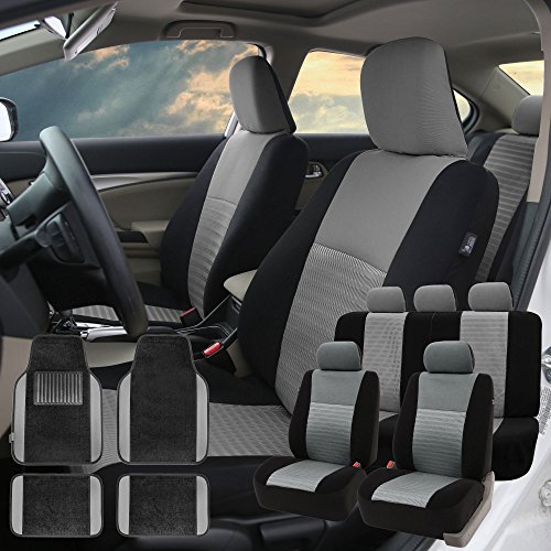 FH GROUP FH-FB060115 Trendy Elegance Car Seat Covers, Airbag compatible and Split Bench with F14407 Premium Carpet Floor Mats Gray / Black- Fit Most Car, Truck, Suv, or Van