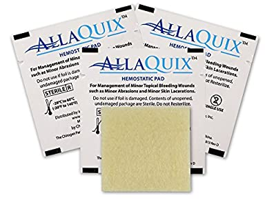 Tactical First Aid Kit: (Pack of 3) AllaQuix Stop Bleeding Pad • (SMALL 1-inch square) • Professional-Grade First-Aid Hemostatic Gauze (Blood Clotting Bandage) from Inspiration Medical Technology, Inc.