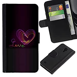 For SAMSUNG Galaxy S4 IV / i9500 / i9515 / i9505G / SGH-i337,S-type® Heart Purple Black Text - Dibujo PU billetera de cuero Funda Case Caso de la piel de la bolsa protectora