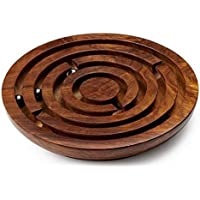 Craftland Hand Made Round Labyrinth Maze Wooden Toys Brain Teaser Puzzle Game (Brown, Clwgl)