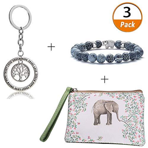 Elephant Gift Sets Retro Silver Jewelry Tree of Life Dream Pendant Key Chain Men Women Natural Stone Yoga Beads Bracelet Bangle Elephant Cute Canvas Cash Coin Purse(Elephant Gifts) (Coin Elephant Set)