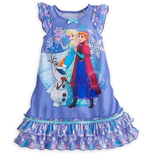- Disney Little Girls' Elsa, Anna, Olaf double ruffle nightgown (5-6)