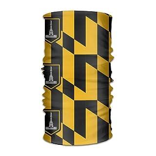 Uosliks Unisex Stylish Baltimore Maryland USA Flag Quick Dry Microfiber Headwear Outdoor Magic Bandana Neck Gaiter Head Wrap Headband Scarf Face Mask Ultra Soft Elastic Handscarf