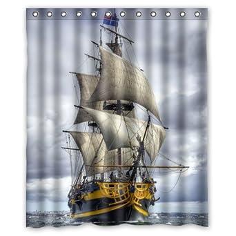 Custom Waterproof Bathroom Sailing Pirate Ship Shower Curtain Polyester Fabric Size 60 X 72