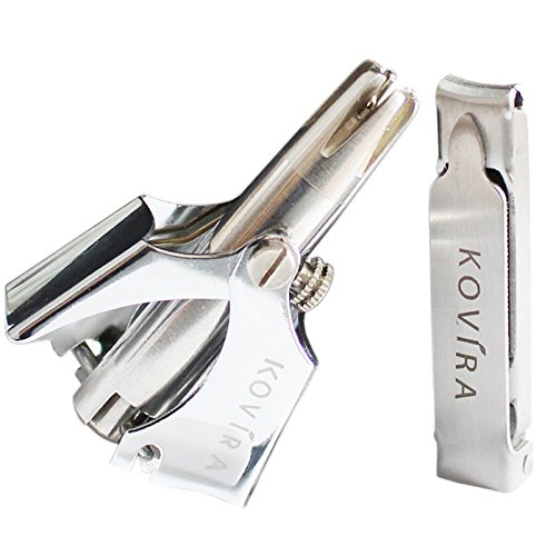 Price comparison product image KOVIRA Nose & Ear Hair Trimmer with Nail Clipper & Cleaning Brush-No Batteries Required - Manual Stainless Steel Nose Hair Remover for Men & Women