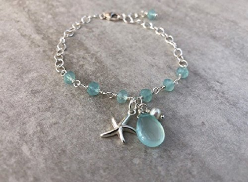 Aqua Blue Gem - Sterling Silver Aqua Chalcedony Gemstone Starfish Bracelet Adjustable 7.5 inch length