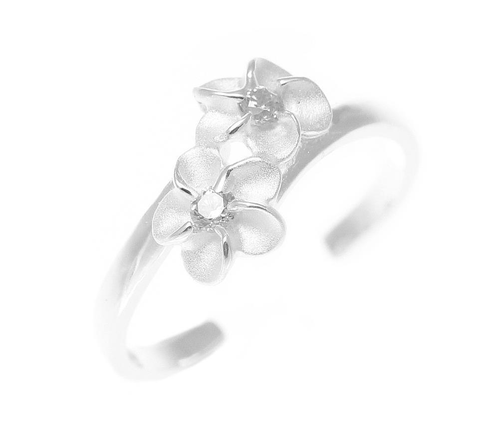 925 sterling silver Hawaiian double plumeria flower white cz open toe ring