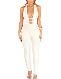 8f2704c44326 Whoinshop Women s Sexy V Neck Jumpsuit Backless Stretch Bodycon Bandage  Party Romper Pants