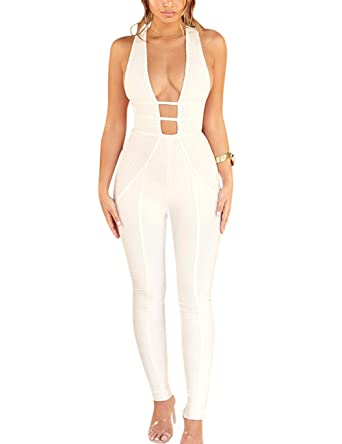 01e5f570b753 Amazon.com  Whoinshop Women s Sexy V Neck Jumpsuit Backless Stretch Bodycon  Bandage Party Romper Pants  Clothing