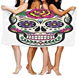 Gemao Beach Towel White Sugar Skull Trendy Microfiber Absorbent Solid Large Beach Towel