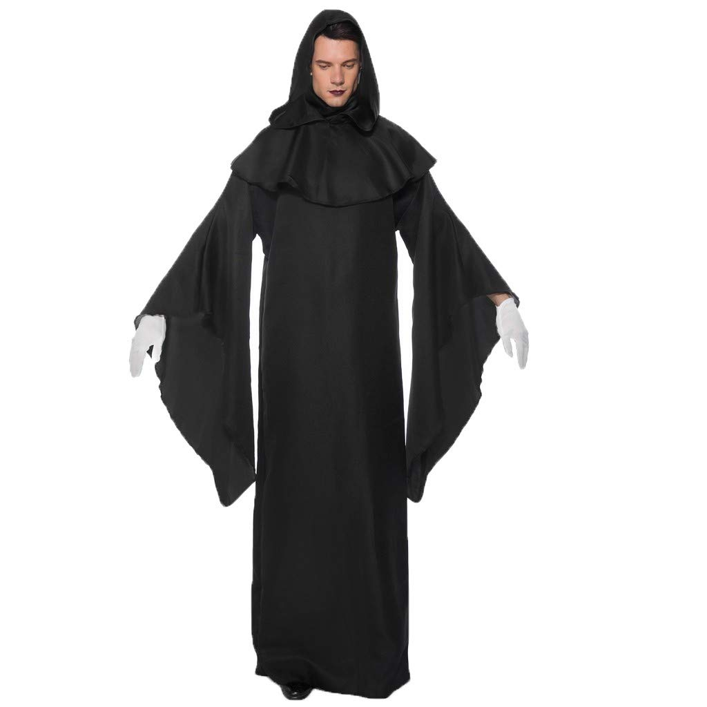 Jieou Unisex Men Women Full Length Hooded Cloak Long Robe Cloak for Halloween Christmas Cosplay Costumes (Black, L) by Jieou