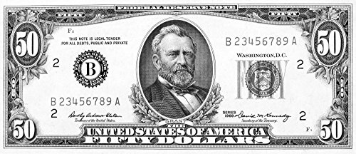 Posterazzi Bill. /Npresident Ulysses S. Grant On The Front of A U.S Fifty Dollar Note 1969. Poster Print by, (18 x 24)