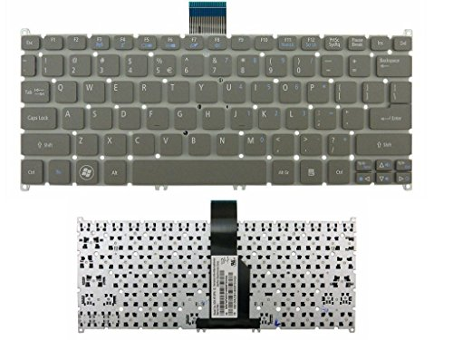 New Gray Laptop US Keyboard (Without Frame) for Acer ultrabook Aspire One 725 756 AO725 AO756 S3 S3-951 Aspire MS2346 s5 s5-391 V5-171 TravelMate B113-E B113-M Series (Travelmate Keyboard Acer)