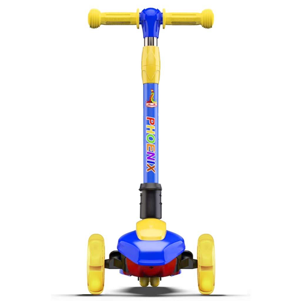 Dreiradscooter Scooter Kick Scooter für große Kinder, höhenverstellbar mit extra breiter Plattform PU blinkende Räder für Kinder von 2 bis 8 Jahre (Farbe   Blau) Blau