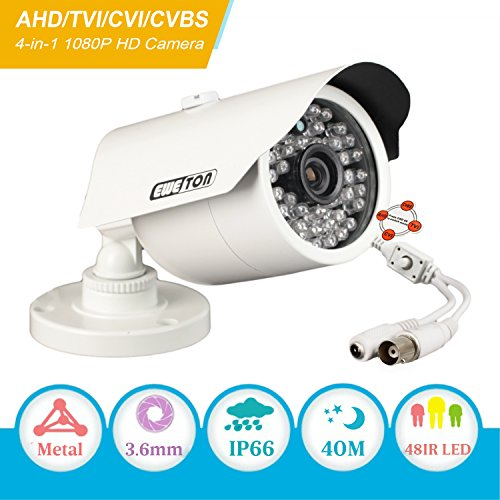 Cameras Analog Surveillance (EWETON 1080P Hybrid Bullet Security Camera, 2.0 Megapixel HD 4-in-1 TVI/CVI/AHD/CVBS Waterproof Outdoor Surveillance Camera, 3.6mm Lens 48 LED 130ft IR Night Vision, Aluminum Alloy Housing Silver)