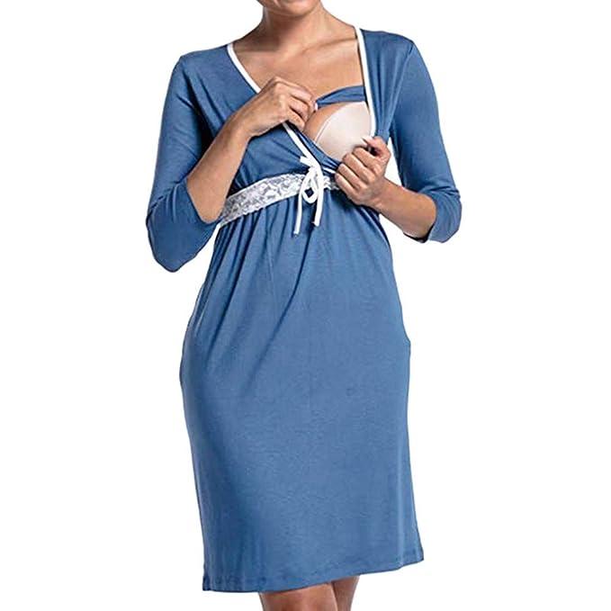 5b71229a61e8 Italily Donna Gravidanza Manica Lunga V Collo Raccogliere Pigiama Vestito  maternità Abiti Allattamento Vestito Casa Camicia