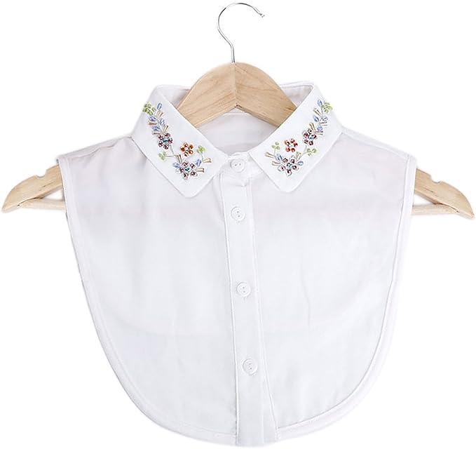 Invierno otoño mujeres elegante bordado cuello bricolaje blusa vestido de ropa de cuello falso: Amazon.es: Deportes y aire libre