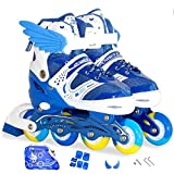 Sumeber Inline Skates Kids Inliners Roller Skates Roller Blades 4 wheels flash Children's Inline Skates Adjustable Shoe Size for Girls Boys (Blue, S(EU 31-34 UK 12.5-2))