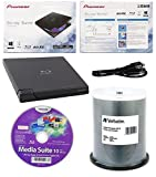 Pioneer 6x BDR-XD05B Ultra Lightweight External Blu-ray BDXL Burner, Cyberlink Software and USB Cable Bundle with 100pk CD-R Verbatim 700MB 52X DataLifePlus White Inkjet, Hub Printable