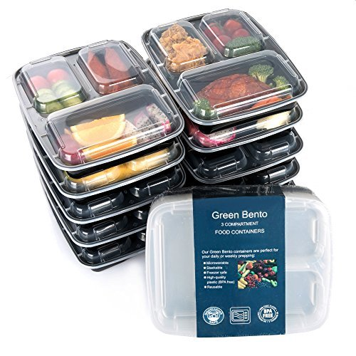 Portion Control Plate (Green vege Bento 3 Compartment Meal Prep Food Storage Reusable Lunch Containers,10 Pack,Black)