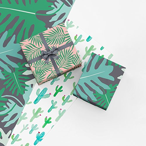 Botanical Gift Wrap Collection 9 Folded Sheets of Wrapping Paper with Palm Leaves Monstera Leaves and Saguaro Cactus Easy to Store Folded Wrapping Paper Made in America by Revel amp Co