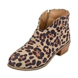 Womens Vintage Suede Zipper Ankle Boots - Casual Round Toe Chunky Square Heel Booties Solid Color Shoes Size 5.5-910.5