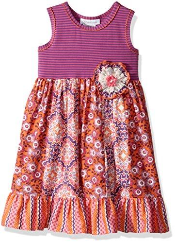 Bonnie Jean Girls' Toddler Knit to Cotton Poplin Print Dress, Purple Floral, 2T ()