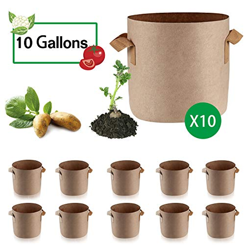Anleolife 10-Pack 10 Gallon Potato Grow Bags, Fabric Planter Pots for Tomatoes Beets Flowers (Tan) (Depot Tomatoes Home Patio)