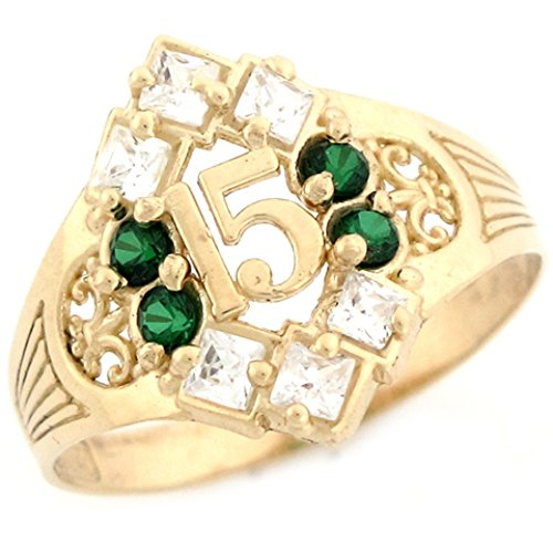 14k Yellow Gold Simulated Emerald Birthstone Beautiful Quinceanera 15 Anos Ring by Jewelry Liquidation