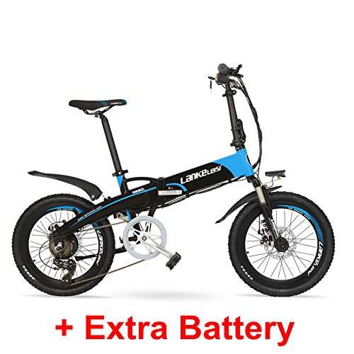 "G660 48V 10Ah Hidden Battery 20"" Folding Electric Mountain Bike, 500W Motor, Aluminum Alloy Frame, Suspension Fork(Black Blue Plus Extra Battery)"