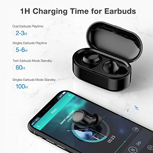 Poweradd Wireless Earbuds Bluetooth 5.0,True Wireless Headphones Earbuds 3D Stereo Sound Built-in Microphone for iOS and Android Device with Portable Charging Case